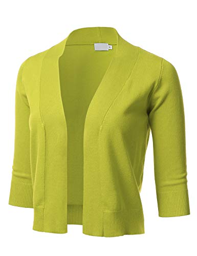 Women's Classic 3/4 Sleeve Open Front Cropped Cardigan Lime M