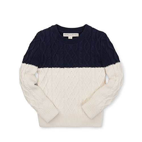 avy/White Colorblock Cable Sweater Made With Organic Cotton (Hope Kids Sweatshirt)