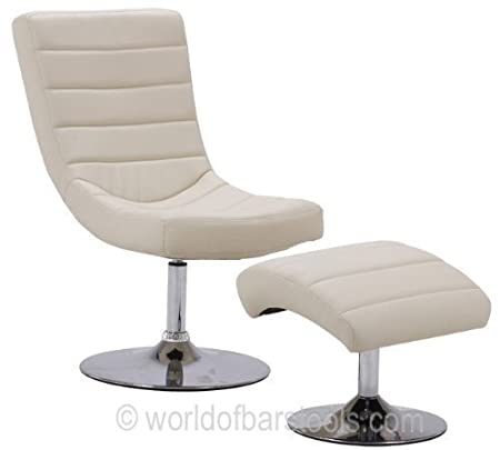 Contemporary Swivel Chair And Foot Stool Cream