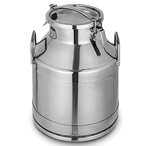 Mophorn Stainless Steel Milk Can 20 Liter Milk bucket Wine Pail Bucket 5.25 Gallon Milk Can Tote Jug with Sealed Lid Heavy Duty - Milk Jug Old