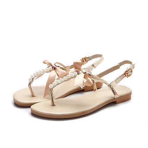 Voyage Sandale Perle Plage Femme Tongs Fille Plate Or Minetom Été Chaussure Bowknot 8S1BqT