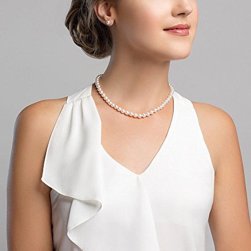 Freshwater Pearl Necklace. THE PEARL SOURCE 14K Gold 6.5-7.0mm AAAA Quality Round White Freshwater Cultured Pearl Necklace for Women in 18 #pearls