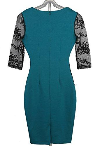 Babyonlinedress Vestido de lápiz estilo elegante y ajustado cuello cuadrado manga larga y transpaente espalda de cierre de cremallera con aplicacione de encaje Verde