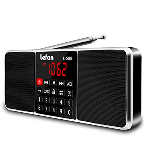 Lefon Multifunction Digital AM FM Radio Wireless Media Speaker MP3 Music Player Support TF Card/USB Disk with LED Screen Display and Setting Timing Shutdown Function (Black)