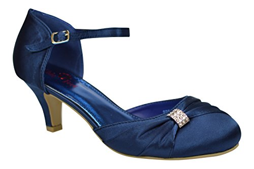 Satin Navy 3 Women's Feet 8 Shoes Toe Prom Low Mary Party Wedding Closed Blue Heel Style Bridesmaid Diamante Chic Jane UAEacqU