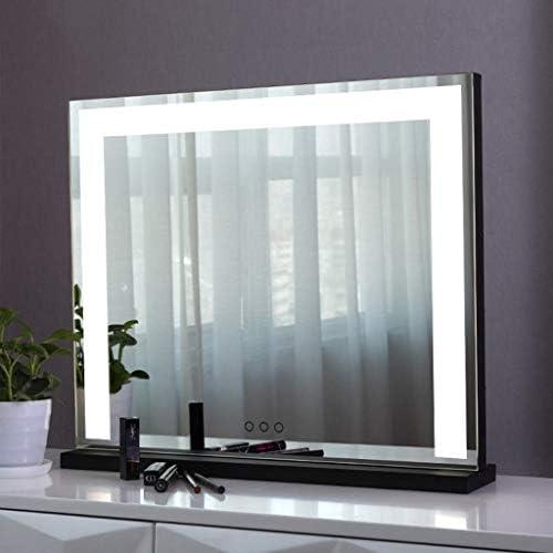 照明とタッチスクリーン付き化粧化粧台ミラー、LEDライト付きハリウッドライトアップ化粧鏡ミラーバスルームやベッドルームのテーブルトップに最適 化粧鏡 (Color : Black, Size : A)
