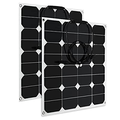 uxcell 2pcs 50W 18V 12V Solar Panel Charger Solar Cell Ultra Thin Flexible with MC4 Connector Charging for RV Boat Cabin Tent Car