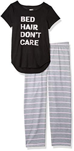 Crazy 8 Girls' Big Short Sleeve Curve Hem Flame Resistant Pajama Set, Bed Hair Don't Care, -
