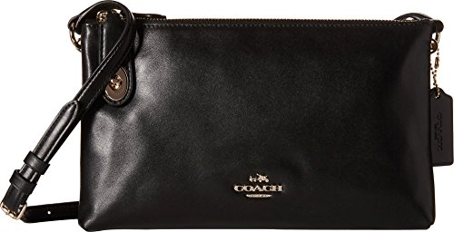Coach Women's Crosby Smooth Calf Leather Cross Body, Light Gold/Black, One Size