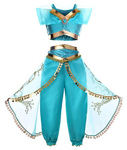 JerrisApparel Girls Princess Jasmine Costume Halloween Cosplay Party Dress Up (6, Blue) -