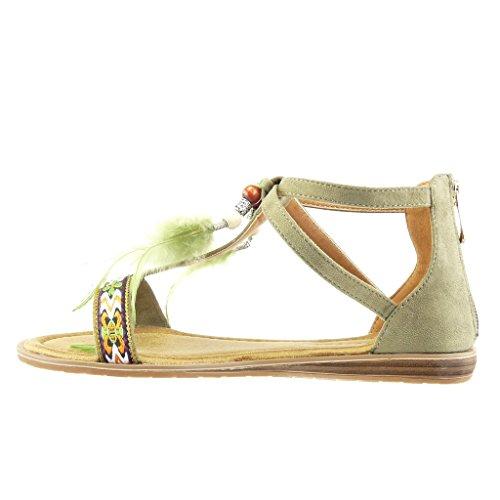 Angkorly - Zapatillas de Moda Sandalias mujer pompom bordado Talón Plataforma 1.5 CM - Verde