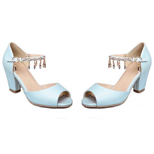 Aisun Womens Rhinestones Buckled Dress Stacked Mid Heels Peep Toe Sandals Ankle Strap Shoes Blue J1Q0wiWua