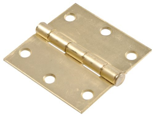 Hillman Hardware Essentials 851959 Residential Square Corner Door Hinges with Removable Pin Satin Brass 3-2 Pack