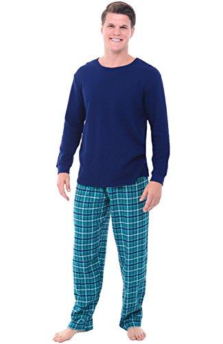 Set Knit Cotton - Del Rossa Men's Flannel Pajamas, Knit Top Cotton Pj Set, Medium Aqua Green and Blue Plaid (A0706Q04MD)