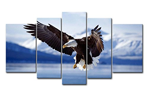 So Crazy Art 5 Panel Wall Art Painting Bald Eagle In Flight To Alaska Pictures Prints On Canvas Animal The Picture Decor Oil For Home Modern Decoration (Bald Eagle Portrait)