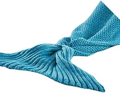 Cartoon Mermaid Tail Blanket Sleeping Blanket For Women - Blue