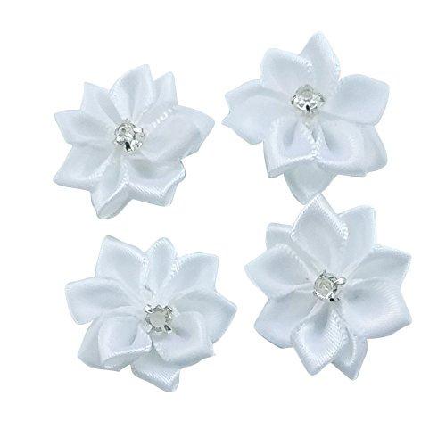 Dandan DIY Upick More Than 26 Colors 40PCS Satin Ribbon Flowers Bows Rose w/Rhinestone Appliques Craft Wedding Dec (White) (Embellishments Satin Flower)