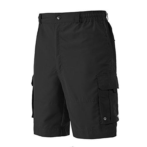 Combat Cargo Shorts - A.WAVE Outdoor Sports Cargo Short Elastic Waist Flat Front Quick Dry (XXL, Black)