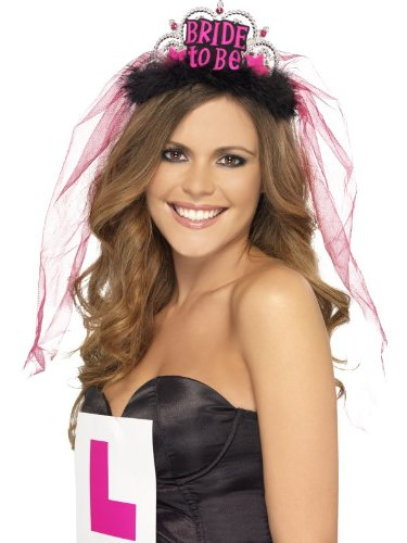 Smiffy's, Bride To Be Tiara With Veil With Lettering - Black/pink (H And M Fancy Dress)