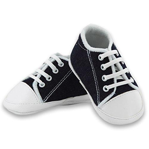 Babyschuhe Sportschuhe coole Krabbelschuhe Jeans dunkel Schnürer Gr. 18 Modell 3191/247