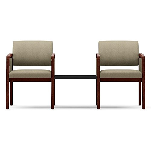 One Set, Lenox Panel Arm Two Seater w/Connecting Center Table Dimensions: 65''W x 26''D x 31.5''H Weight: 69 Lbs Each Seat Supports Users Up to 275 Lbs - Angora Fabric/Black Table Top/Mahogany Frame by Lesro