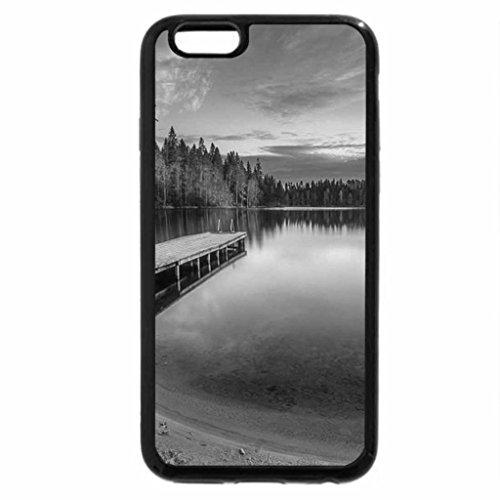 iPhone 6S Plus Case, iPhone 6 Plus Case (Black & White) - Autumn Lake Sunset