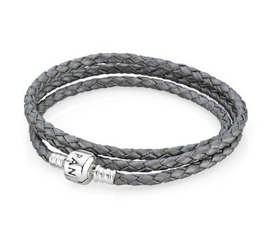 (Pandora Silver Grey Leather Triple Wrap Bracelet 590705CSG Christmas (Xmas) Deals)