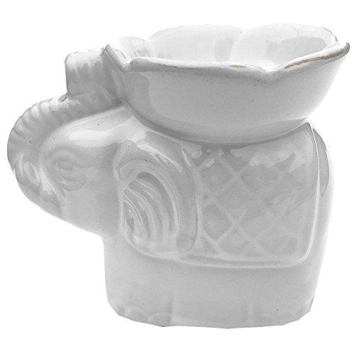 Expressive Scent Ceramic Burner for Oil and Wax Melts - Fragrance Oil Warmer Lamp Elephant - White