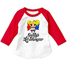 Dittoxpression Suicide Squad Harley Quinn Daddy's LIL Monster (RGL) Unisex Child 3/4 Sleeve Raglan Children