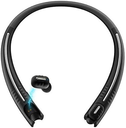True Wireless Earbuds with Charging Neckband, Bluenin TWS Bluetooth 5.0 Headphones CVC8.0 Noise Cancelling Leisure in-Ear Earbuds, Noise Canceling Stereo Earphones with Built in Smart Mic Black