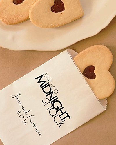 Midnight Snack Cookie Bags, Hot Pretzel Bags, Party Favor, Dessert Table, Bakery Bags, Wedding - Personalized - Coated, Grease Resistant - Set of 25