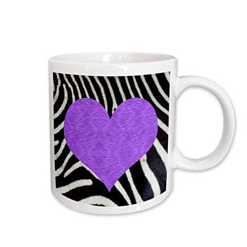 - 3dRose Punk Rockabilly Zebra Animal Stripe Purple Heart Print Ceramic Mug, 11-Ounce
