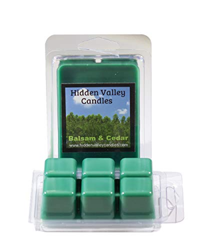 Balsam & Cedar ***2 Pack*** Double Scented Wax Melts. Blend of balsam, aromatic cedar wood, and juniper berry delivers that fresh forest scent used year round its so popular. You will receive 2 packs for a total 12 cubes which will throw 50+ hours of fragrance when melted in Scentsy®, Yankee Candle® or standard electric tart warmer.