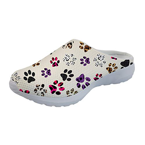 (Coloranimal Colorful Animal Paws Leopard Print Beach Aqua Sandals Unisex Garden Clogs Summer Comfortable Breathable Sip On Slipper Flats)