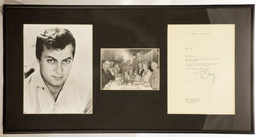 Custom Black Metal Frame & Matted - Tony Curtis Typed & Signed Letter - Dated 08/14/1964 - w/ 8x10 Photo & 5x7 Candid Shot at Dinner - Very Rare - Collectible - Measures 13x26 Inches - Some Like It Hot