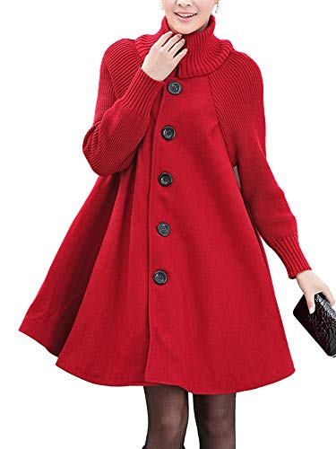 AUSZOSLT Women's New Wool Button Down Coat A-Lined Overcoat Red XL ()