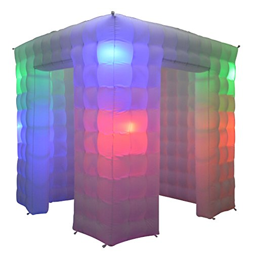 Inflatable Portable Photo Booth Enclosure(2 doors) with 16 Colors LED Changing Lights and Inner Air Blower for Weddings Parties Promotions Advertising by Sayok