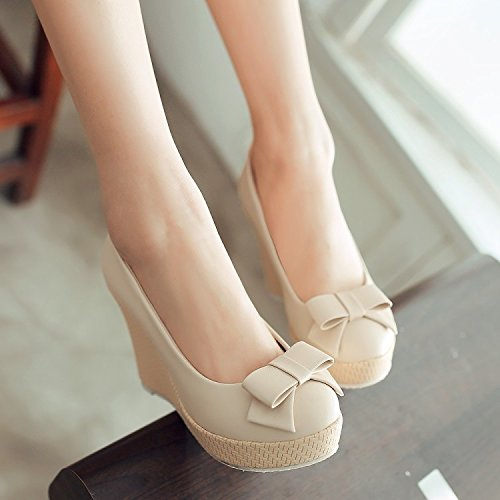 KHSKX-Spring And Autumn Sweet Slope Documentary Shoes Waterproof Table High-Heeled Shoes Princess Shoes Bow Tie Student Shoes Summer Beige v94GN