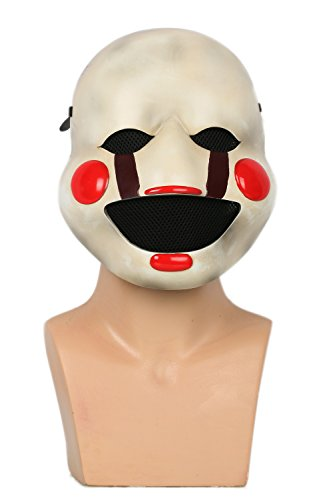 Marionette Puppet Halloween Costume (XCOSER Marionette Mask Scary Puppet Half Face Helmet for Adult Halloween Cosplay)
