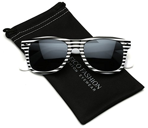 Black & White Striped Horn Rimmed Retro - Striped Sunglasses Zebra