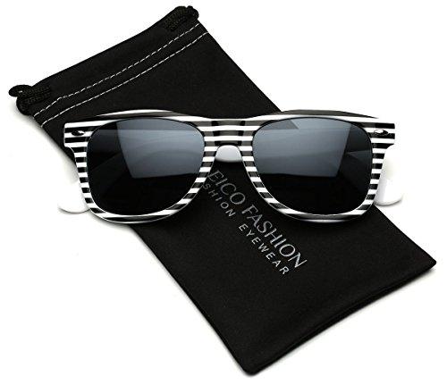Striped White Horn (Black & White Striped Horn Rimmed Retro Sunglasses)