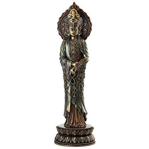 - Top Collection Meditating Quan Yin Statue on Pedestal - Hand Painted Kwan Yin Goddess of Mercy and Compassion Sculpture in Premium Cold Cast Bronze- 15-Inch Collectible East Asian Buddha Figurine