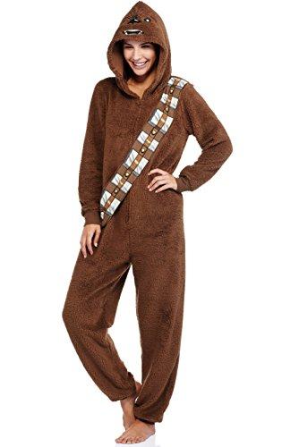Womens Star Wars Chewbacca Pajama Union Suit One Piece Sleepwear Large