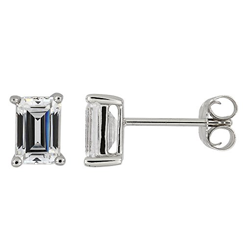Sterling Silver Rhodium Plated Approximate 0.90 Cttw Emerald-Cut Cubic Zirconia Stud Earrings