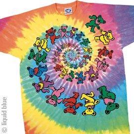 Liquid Blue Kids' Little Grateful Dead Spiral Dancing Bears Short Sleeve T-Shirt, Tie-Dye, Small