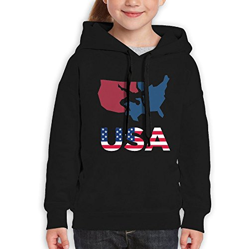 Wrestling USA Patriotic American Flag Map Youth Boy's Girl's Funny Pullover Hood Hoodie Sweatshirt (Usa Map Mens Hoodie)