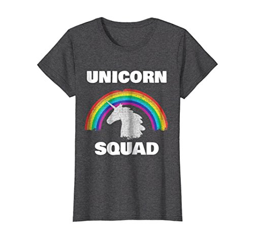 Unicorn Retro (Womens Unicorn Squad Vintage Retro Rainbow Unicorns Love Tee Shirt Medium Dark Heather)