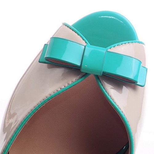 VogueZone009 Womens Open Peep Toe High Heel Platform Chunky Heels PU Soft Material Solid Sandals with Bowknot, Blue, 2.5 UK