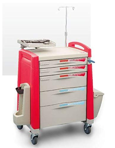 MS3C-600CR Hospital Emergency Crash Cart with Accessory Package with IV Pole, O2 Holder, Cardiac Board, Trash Can and Drawer Dividers, Ships in 2 Days!