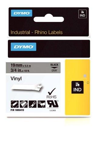 DYMO Rhino Adhesive Vinyl Label Tape, 3/4-inch, 18-foot Cassette, Gray (1805419)